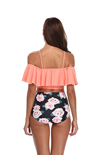 587599bfa9322c MarinaVida Women Off Shoulder Ruffle Swimsuit Crop Top Two Piece Bathing  Suit