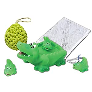 "Rubber Crocodile Family Bath Toy Set - 8"" Non-Phthalate Vinyl Toy - Set of 4 - Bathtub Toy Storage Mesh Bag and Bath Sponge Included"