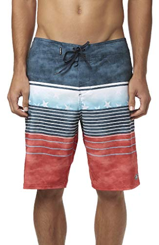 O'Neill Men's Water Resistant Hyperfreak Stretch Swim Boardshorts, 21 Inch Outseam (Red White Blue/Heist, 36) ()