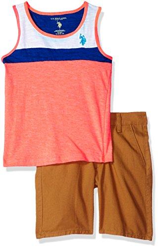 U.S. Polo Assn. Boys' Little Tank Set, Aqua Logo Khaki Short Coral 5/6