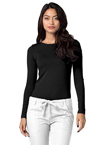 Adar Womens Comfort Long Sleeve T-Shirt Underscrub Tee - 2900 - Black - S (Scrubs Nursing Sleeve)
