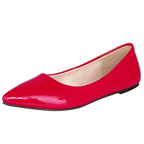 Mee Shoes Damen flach spitz Lackleder Pumps Rot