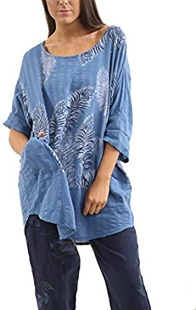Italian Linen Tunic Top Teal Fish Design Lagenlook Plus Size 16 18 20 22