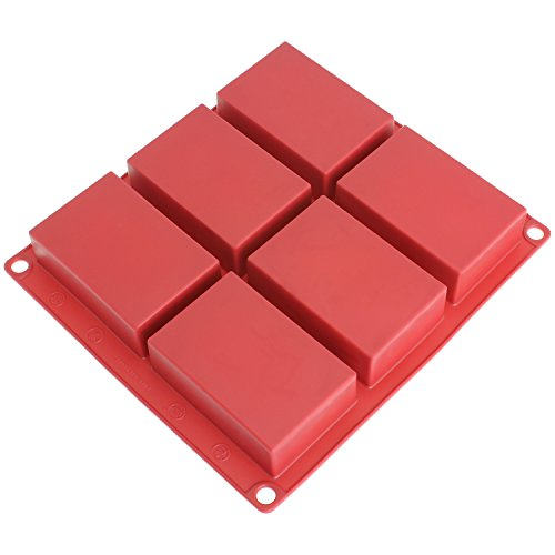 Bar Soap Mold - Freshware SP-100RD 6-Cavity Rectangle Premium Silicone Soap Bar and Resin Mold