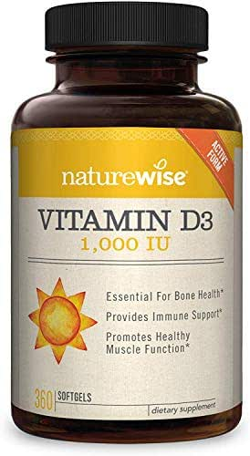 NatureWise Vitamin D3 1,000 IU for Healthy Muscle Function, Bone Health, and Immune Support   Non-GMO and Gluten-Free in Cold-Pressed Organic Olive Oil Capsule [1 Year Supply - 360 Count]