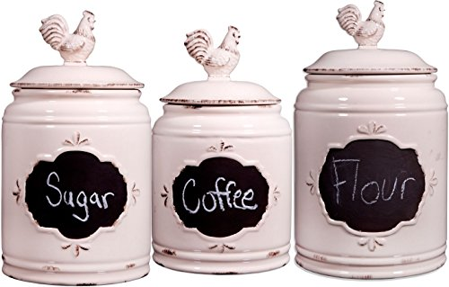 Home Essentials & Beyond 76227 Antique Chalkboard Round Canisters, Ivory - Set Of 3