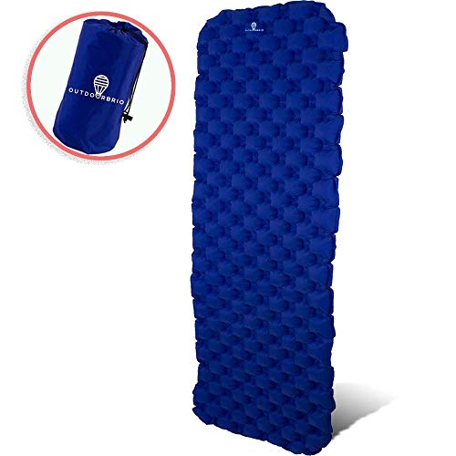 OutdoorBrio Ultralight Sleeping Camping Pad Wide Large 2 inches Thick – Inflatable, Practical Portable Mat for Outside Activities Camping Hiking – Easy Folding Air mat Plus Repair Kit