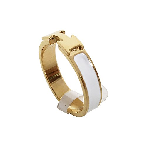 Love Ring - Titanium Fashion Classic Color Blocking H Ring (size: 5-10) (Gold/White, 8) by Qindishijia (Image #2)