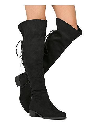 Alrisco Women Faux Suede Over The Knee Back Lace Riding Boot HE89 - Black Faux Suede (Size: (Back Lace Boots)