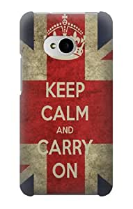 S0674 Keep Calm and Carry On Case Cover for HTC ONE M7