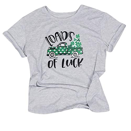 Womens Short Sleeve Tops St. Patrick's Day Printed Blouse Casual Basic T Shirts Pullover Gray