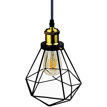 2 pack e26 vintage metal cage pendant lamps lighting chandelier licperron industrial pendant lighting edison hanging caged pendant light fixture vintage ceiling lights wire pendant light with adjustable black cord keyboard keysfo Choice Image