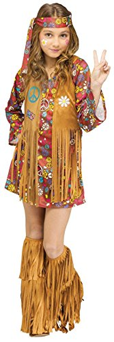 Girls Hippie Girl Costumes (Child Peace & Love Hippie Costume Medium (8-10))