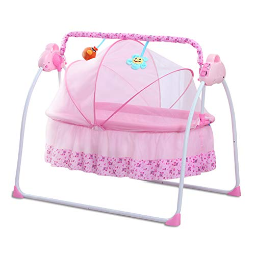 CBBAY Electric Cradle for Baby ,Automatic Baby Basket Electric Rocking Multi-Function Baby Swing Cradle Bed with Music (Pink)