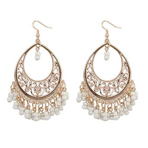 (juler Earrings Women Bohemian Hollow Mahjong Tassel Earrings Accessories Fashion Jewelry,White,One)
