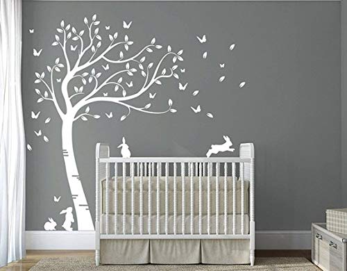 Tree Decals For Nursery - DesignDivil Customized Full Size Beautiful Bunny Rabbits Tree Nursery Room Wall Decal DD007