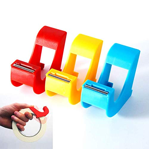 er (3 Pcs) Revolutionary Mini Desktop Tape Cutter Holder, Effortlessly Locate and Cut That Difficult to Find End of Tape- Neat and Secure- Red Blue Yellow ()
