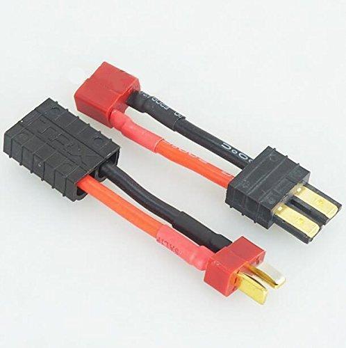FLY RC 2PCS RC Lipoバケッター充電器変換ケーブルアダプターTRXとDeans TプラグコネクタTRAXXAS SE SLASHユニバーサル