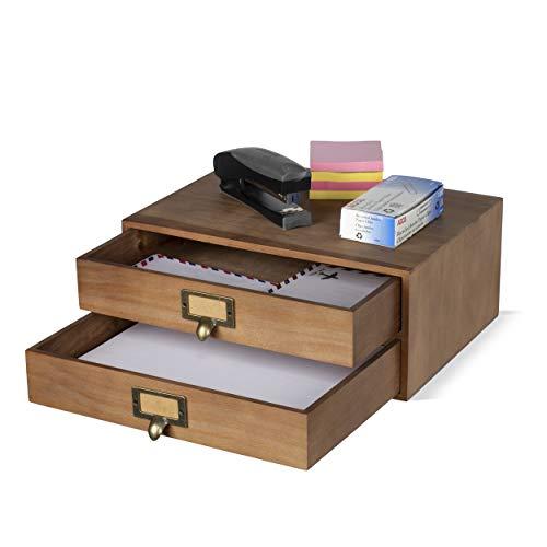 Wood Storage Drawers - Wallniture Home Office Desk Organizer - Wooden 2 Drawer Under Monitor Stand - Printer Platform - Paper Holder Walnut