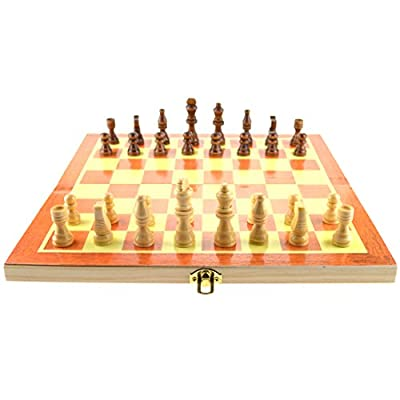 "Supplies bbhosbt 15"" Wooden Chess Set with Felted Game Board Interior for Storage"