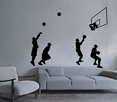 Large--Easy instant decoration wall sticker wall mural Sport Basketball-Basketball shot