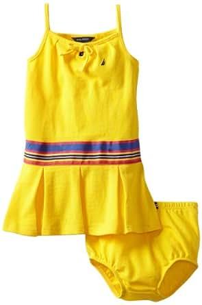 Nautica Baby Girls' Keyhole Dress, Yellow, 24 Months