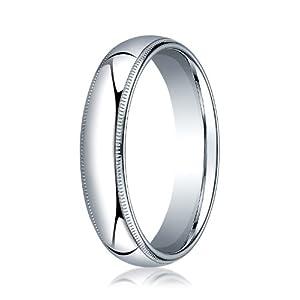 Womens Palladium, 5mm Slightly Domed Standard Comfort Fit Ring with Milgrain