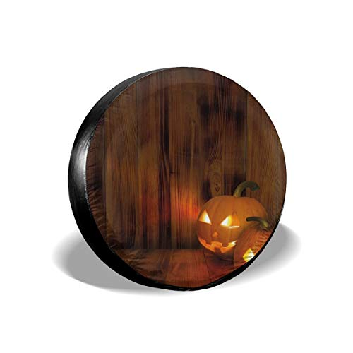 GULTMEE Tire Cover Tire Cover Wheel Covers,Jack O Lanterns Scary Halloween Photograph in A Wooden Interior Fall Themed Image,for SUV Truck Camper Travel Trailer Accessories(14,15,16,17 Inch) 14 ()