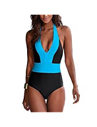 Lukitty Women's One Piece Push Up Halter Bikini Monokini Bathing Suit Swimsuit