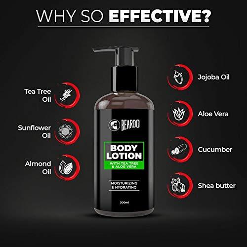 Beardo Body Lotion With Aloe Vera & Tea Tree Oil For Hydrating & Moisturizing, 300 ml