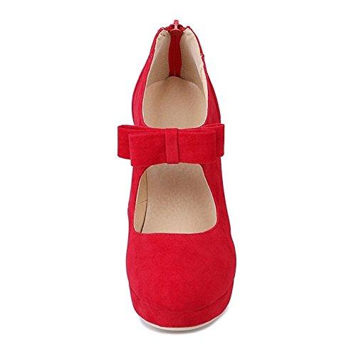 COOLCEPT Mujer Moda Fiesta Court Shoes Tacon De Aguja Plataforma Bootie Bombas Zapatos With Corbata De Mono 688 Rojo