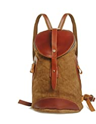 Bronze Times(TM) Womens Casual Canvas School Backpack with PU Leather Decoration