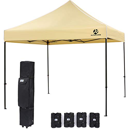 SUPERJARE Pop-up Canopy, 4 Weight Bags and a Wheeled Carry Bag, 10 Ft x 10 Ft Commercial Shelter, Outdoor Instant Folding Tent, Heavy Duty – Yellow