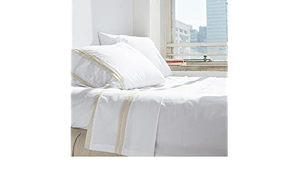 White//Cream Amity Home Bianca Banded Sheet Set Queen
