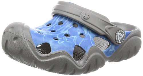 Image of Crocs - Kids Swiftwater Graphic Clogs, Size: 11 M US Little Kid, Color: Multi-Color Blue