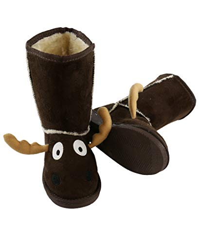 Moose Boot Cute Animal Character Slippers for Kids by LazyOne | Boys and Girls Creature Slipper Boots (Large) for $<!--$22.99-->