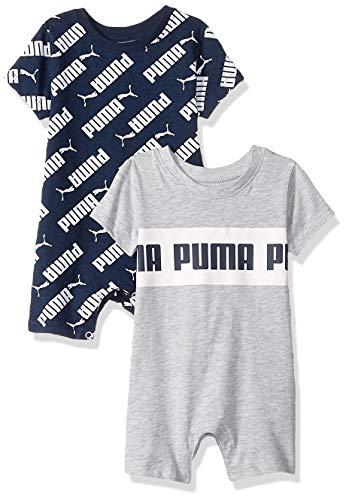 PUMA Baby Boys' 2 Pack Romper Set, Light Heather Grey, 12 Months
