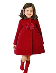 Ameny® Children Girls Fall Winter Lolita Bowknot Wool Outwear Dress Coat