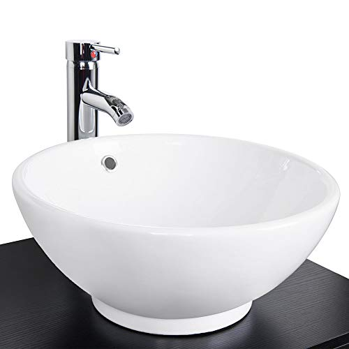 - Eclife 1.5 GPM With Overflow Counter Top Round Bathroom Ceramic Porcelain Vessel White Vanity Sink Combo with Solid Brass Pop Up Drain and Chrome Faucet A06