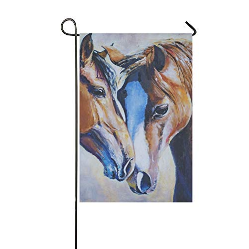 Home Decorative Outdoor Double Sided Portrait Two Horses Acrylic Painted Picture Have Garden Flag,house Yard Flag,garden Yard Decorations,seasonal Welcome Outdoor Flag 12 X 18 Inch Spring Summer Gift