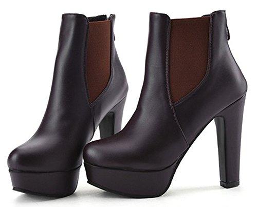 Aisun Womens Fashion Round Toe Back Zipper Platform Chunky High Heels Booties Dress Ankle Boots Shoes Brown HqiqZYCfgG