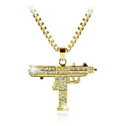 - Weiwei Gold Necklace Uzi Gun Pendant Necklace Men Alloy Chain Hip Hop Cyclist Accessories Male Jewelry