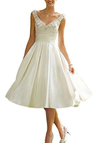 Dreammade Women's Satin Double V-Neck Beaded A-Line Tea Length Wedding Dresses White