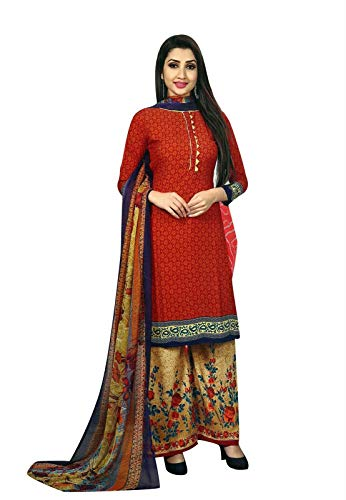 Ready to Wear Faux Crepe Printed Salwar Kameez Suit with Palazzo Pants (Size_46/ - Salwar Crepe Suit