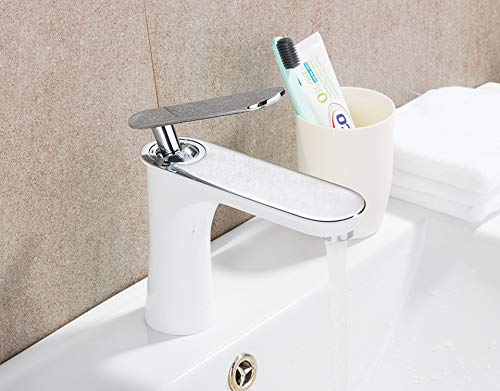 Bathroom Basin Faucet Waterfall Faucet White Faucets Chrome Single Lever Bath Sink Hot and Cold Water Mixer Tap