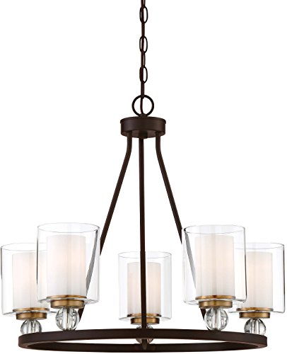 Minka Lavery Chandelier Pendant Lighting 3075-416 Studio 5 Dining Room Fixture, 5-Light 500 Watts, Painted Bronze