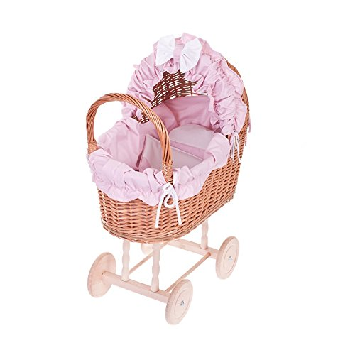 Electric WICKER24 48/O Róż Doll's Pram Wicker Basket Honey Yellow, 48 x 27 x 55 cm
