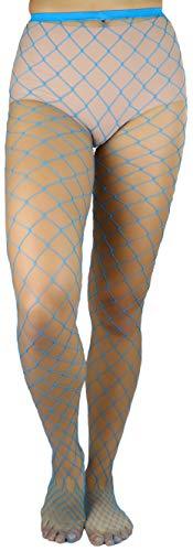 Blue Fishnet Tights (ToBeInStyle Women's Diamond Net Spandex Pantyhose -)