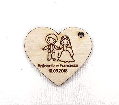 50 segnaposto cuori cuoricini in legno da 3 cm personalizzati con nomi