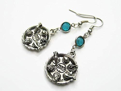 (Seder Birthstone Earrings, Personalized Jewish Earrings, Seder Plate Jewelry, Passover Earrings, Judaism Earrings)